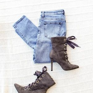 CATHERINE - Lace up suede heeled boots